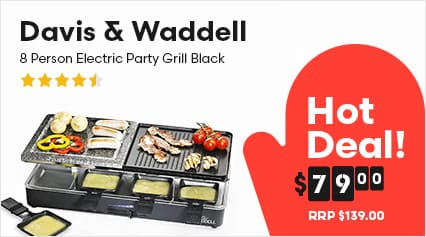 Davis & Waddell 8 Person Electric Party Grill Black