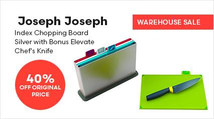 Joseph Joseph Index Chopping Board Silver with Bonus Elevate Chef's Knife
