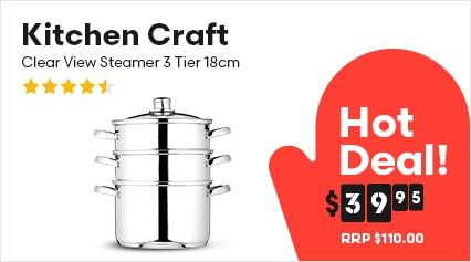 Kitchen Craft Clear View Steamer 3 Tier 18cm