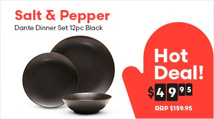 Salt & Pepper Dante Dinner Set 12pc Black