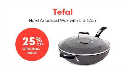 Tefal Hard Anodised Wok with Lid 32cm