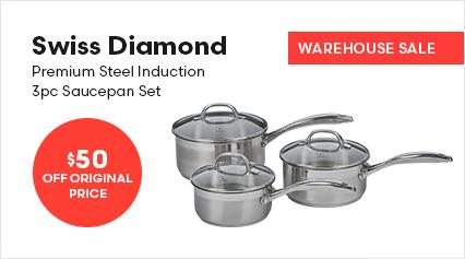 Swiss Diamond Premium Steel Induction 3pc Saucepan Set