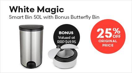 White Magic Smart Bin 50L with Bonus Butterfly Bin